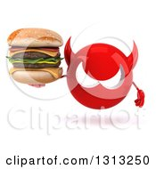 Clipart Of A 3d Red Devil Head Holding A Double Cheeseburger Royalty Free Illustration