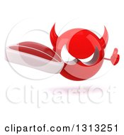 Clipart Of A 3d Red Devil Head Giving A Thumb Up And Holding A Beef Steak Royalty Free Illustration