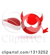 Clipart Of A 3d Red Devil Head Shrugging And Holding A Beef Steak Royalty Free Illustration