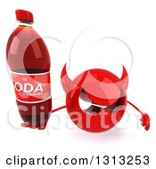 Clipart Of A 3d Red Devil Head Holding Up A Soda Bottle Royalty Free Illustration