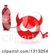 Clipart Of A 3d Red Devil Head Shrugging And Holding A Soda Bottle Royalty Free Illustration