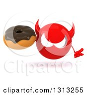 Clipart Of A 3d Red Devil Head Shrugging And Holding A Chocolate Frosted Donut Royalty Free Illustration