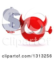 Clipart Of A 3d Red Devil Head Holding A Dollar Symbol And Thumb Up Royalty Free Illustration
