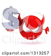 Clipart Of A 3d Red Devil Head Holding A Dollar Symbol And Thumb Down Royalty Free Illustration