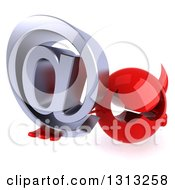 Clipart Of A 3d Red Devil Head Holding Up An Email Arobase At Symbol Royalty Free Illustration