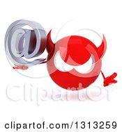Clipart Of A 3d Red Devil Head Shrugging And Holding An Email Arobase At Symbol Royalty Free Illustration