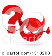 Clipart Of A 3d Red Devil Head Giving A Thumb Up And Holding A Question Mark Royalty Free Illustration