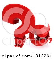 Clipart Of A 3d Red Devil Head Holding Up A Question Mark Royalty Free Illustration