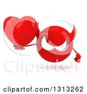 Clipart Of A 3d Red Devil Head Holding A Heart Royalty Free Illustration