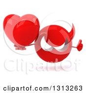 Clipart Of A 3d Red Devil Head Giving A Thumb Up And Holding A Heart Royalty Free Illustration