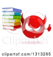Clipart Of A 3d Red Devil Head Giving A Thumb Up And Holding A Stack Of Books Royalty Free Illustration