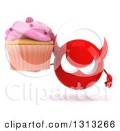 Clipart Of A 3d Red Devil Head Holding A Pink Frosted Cupcake Royalty Free Illustration