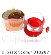 Clipart Of A 3d Red Devil Head Holding A Chocolate Frosted Cupcake And A Thumb Down Royalty Free Illustration
