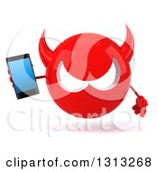 Clipart Of A 3d Red Devil Head Holding A Smart Cell Phone Royalty Free Illustration