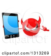 Clipart Of A 3d Red Devil Head Holding Up A Smart Cell Phone And Gesturing Call Me Royalty Free Illustration by Julos