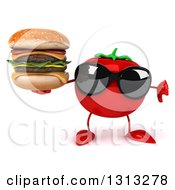Clipart Of A 3d Tomato Character Wearing Sunglasses Giving A Thumb Down And Holding A Double Cheeseburger Royalty Free Illustration