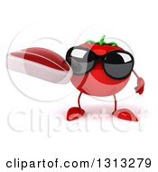 Clipart Of A 3d Tomato Character Wearing Sunglasses And Holding A Beef Steak Royalty Free Illustration