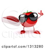 Clipart Of A 3d Tomato Character Wearing Sunglasses Holding Up A Finger And A Beef Steak Royalty Free Illustration