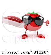 Clipart Of A 3d Tomato Character Wearing Sunglasses Holding A Thumb Down And A Beef Steak Royalty Free Illustration