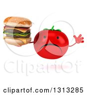 Clipart Of A 3d Unhappy Tomato Character Jumping And Holding A Double Cheeseburger Royalty Free Illustration