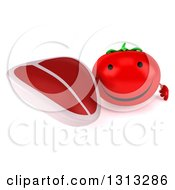 Clipart Of A 3d Happy Tomato Character Holding Up A Beef Steak Royalty Free Illustration