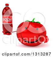 Clipart Of A 3d Happy Tomato Character Holding And Pointing To A Soda Bottle Royalty Free Illustration