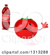 Clipart Of A 3d Unhappy Tomato Character Jumping And Holding A Soda Bottle Royalty Free Illustration