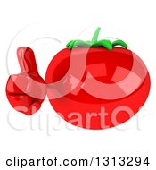 Clipart Of A 3d Tomato Character Giving A Thumb Up Royalty Free Illustration