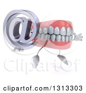 Clipart Of A 3d Mouth Teeth Character Facing Slightly Right Jumping And Holding An Email Arobase At Symbol Royalty Free Illustration