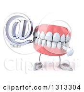Clipart Of A 3d Mouth Teeth Character Holding And Pointing To An Email Arobase At Symbol Royalty Free Illustration