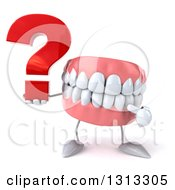 3d Mouth Teeth Character Holding And Pointing To A Question Mark