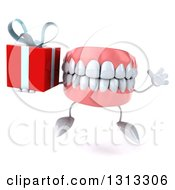 3d Mouth Teeth Character Jumping And Holding A Gift