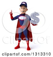 Clipart Of A 3d Young White Male Super Hero Mechanic In Red And Dark Blue Holding Up A Finger And A Dollar Symbol Royalty Free Illustration