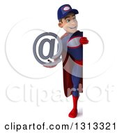 Clipart Of A 3d Full Length Young White Male Super Hero Mechanic In Red And Dark Blue Holding An Email Arobase At Symbol Around A Sign Royalty Free Illustration
