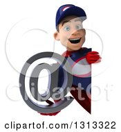 Clipart Of A 3d Young White Male Super Hero Mechanic In Red And Dark Blue Holding An Email Arobase At Symbol Around A Sign Royalty Free Illustration