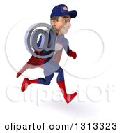 Clipart Of A 3d Young White Male Super Hero Mechanic In Red And Dark Blue Sprinting To The Right And Holding An Email Arobase At Symbol Royalty Free Illustration