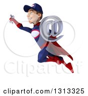 Clipart Of A 3d Young White Male Super Hero Mechanic In Red And Dark Blue Flying And Holding An Email Arobase At Symbol 2 Royalty Free Illustration