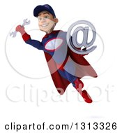 Clipart Of A 3d Young White Male Super Hero Mechanic In Red And Dark Blue Flying And Holding An Email Arobase At Symbol 3 Royalty Free Illustration