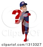 Clipart Of A 3d Full Length Young White Male Super Hero Mechanic In Red And Dark Blue Holding A Question Mark Around A Sign Royalty Free Illustration