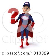 Clipart Of A 3d Young White Male Super Hero Mechanic In Red And Dark Blue Walking And Holding A Question Mark Royalty Free Illustration
