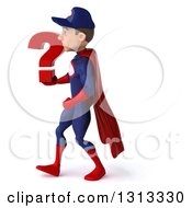 Clipart Of A 3d Young White Male Super Hero Mechanic In Red And Dark Blue Walking To The Left And Holding A Question Mark Royalty Free Illustration