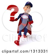 Clipart Of A 3d Young White Male Super Hero Mechanic In Red And Dark Blue Speed Walking And Holding A Question Mark Royalty Free Illustration
