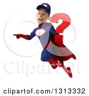 Clipart Of A 3d Young White Male Super Hero Mechanic In Red And Dark Blue Flying Pointing To The Left And Holding A Question Mark Royalty Free Illustration