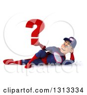 Clipart Of A 3d Young White Male Super Hero Mechanic In Red And Dark Blue Resting On His Side And Holding A Question Mark Royalty Free Illustration