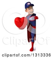 Clipart Of A 3d Full Length Young White Male Super Hero Mechanic In Red And Dark Blue Holding A Heart Around A Sign Royalty Free Illustration