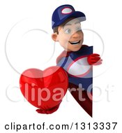 Clipart Of A 3d Young White Male Super Hero Mechanic In Red And Dark Blue Holding A Heart Around A Sign Royalty Free Illustration