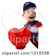 Clipart Of A 3d Young White Male Super Hero Mechanic In Red And Dark Blue Holding A Heart Around A Sign 2 Royalty Free Illustration