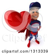 Clipart Of A 3d Young White Male Super Hero Mechanic In Red And Dark Blue Holding Up A Heart Royalty Free Illustration