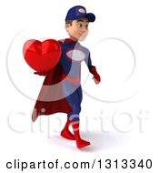 Clipart Of A 3d Young White Male Super Hero Mechanic In Red And Dark Blue Walking Slightly To The Right And Holding A Heart Royalty Free Illustration