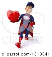 Clipart Of A 3d Young White Male Super Hero Mechanic In Red And Dark Blue Speed Walking And Holding A Heart Royalty Free Illustration